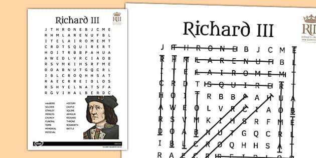 Richard III Wordsearch - richard III, wordsearch, word, search