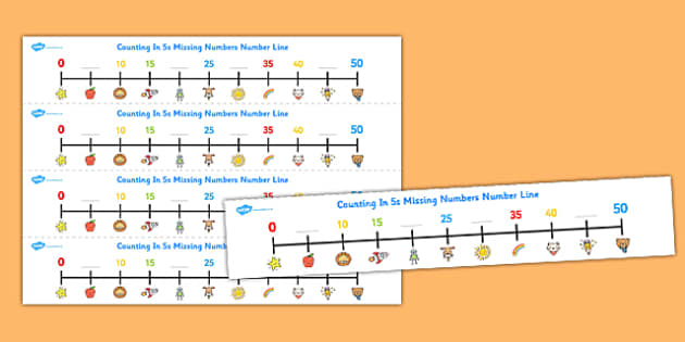Counting in 5s Missing Numbers Number Line - counting, number