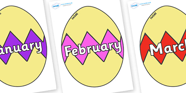 Months of the Year on Easter Eggs (Cracked) - Months of the Year, Months poster, Months display, display, poster, frieze, Months, month, January, February, March, April, May, June, July, August, September