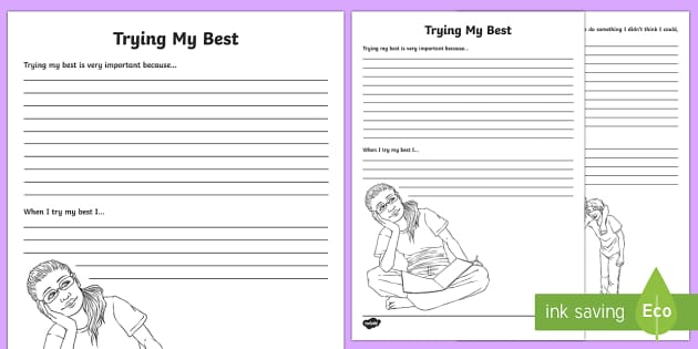 Trying My Best Reflection Writing Template - writing template, S.P.H.E., self assessment, feelings, social, personal and health education, myself