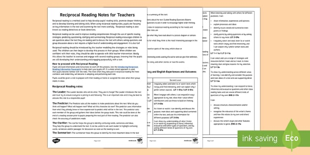 CfE Reciprocal Reading Notes for Teachers-Scottish