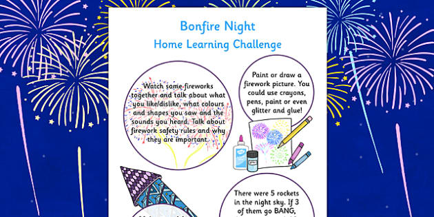 EYFS Bonfire Night Home Learning Challenge Sheet Nursery FS1 - eyfs, bonfire night