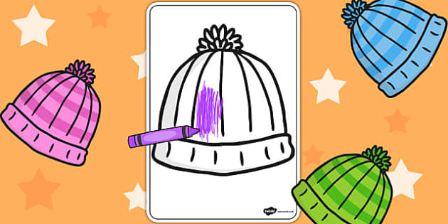 Woolly Hat Colouring Sheet - woolly hat, colouring sheet, colour