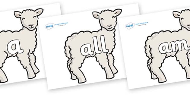Foundation Stage 2 Keywords on Lambs - FS2, CLL, keywords, Communication language and literacy,  Display, Key words, high frequency words, foundation stage literacy, DfES Letters and Sounds, Letters and Sounds, spelling