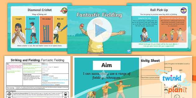 PlanIt - PE Year 3 - Striking and Fielding Lesson 4: Fantastic Fielding Lesson Pack - Striking and Fielding, PE, Physical Education, exercise, sports, Year 3, planning, plans, powerpoint