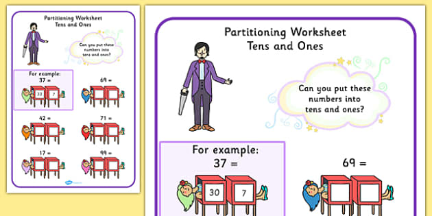 Maths Magician Partitioning Worksheet Tens Units - numeracy, Place value, split, partition, two digit number, tens, ones, units