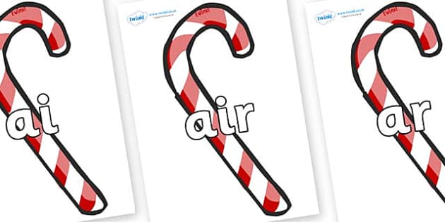 Phase 3 Phonemes on Candy Canes (Plain) - Phonemes, phoneme, Phase 3, Phase three, Foundation, Literacy, Letters and Sounds, DfES, display