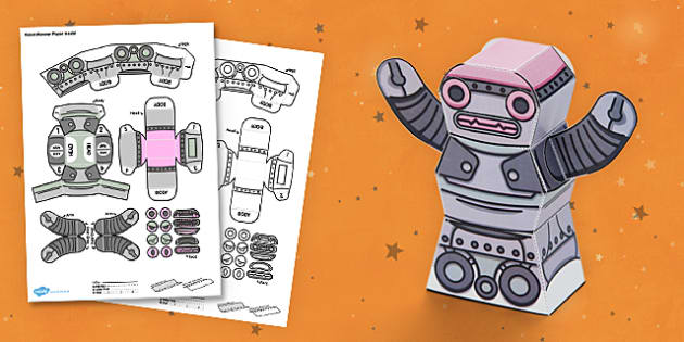 Robot Monster 3D Halloween Paper Model - paper,folding,fold,up,toy,toys,activity,class,colour,color,in,build,display.print,out,cut,printable,fun,model,stand,cube,role,play,playing,prop,props,drama,display,halloween,monster