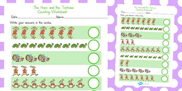 The Tortoise and the Hare Counting Sheet - count, worksheets