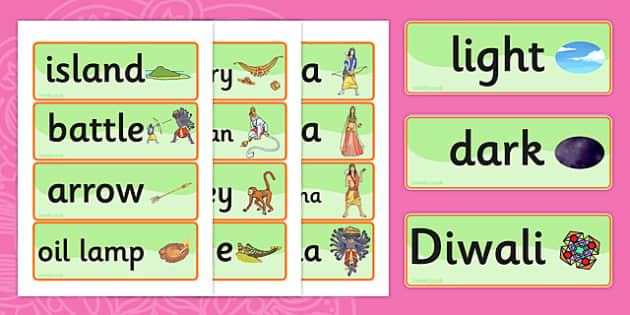 The Story of Rama and Sita Word Cards - diwali, hindu, religion