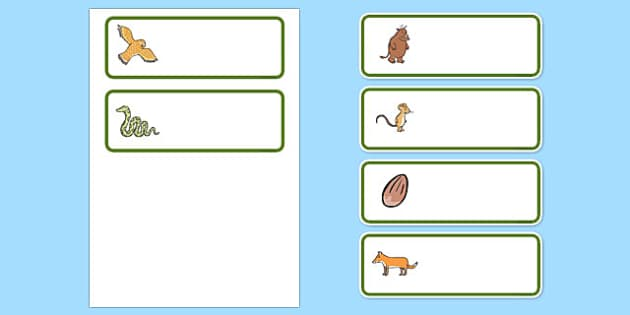 The Gruffalo Editable Drawer-Peg-Name Labels - The Gruffalo, resources, mouse, fox, owl, snake, Gruffalo, fantasy, rhyme, story, story book, story book resources, story sequencing, story resources, Editable Drawer - Peg - Name Labels - Classroom Labe