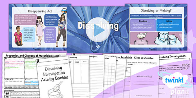 PlanIt Science Year 5 Properties And Changes Of Materials Lesson 4 Dissolving Lesson Pack - science, year 5, materials, topic, planning, resources, unit, opaque, transparent, hard, soft, rough, smooth, dissolving, solids, liquids, gases