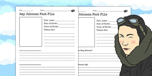 Amy Johnson Significant Individual Fact Sheet Writing Frame
