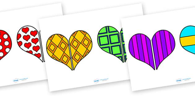 Valentine's Day Heart Pattern Matching Activity - valentine, heart
