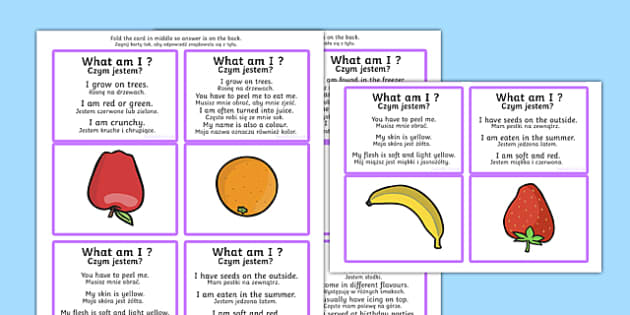 What Am I Guessing Game Cards Food Themed Polish Translation - game, card games, SEN