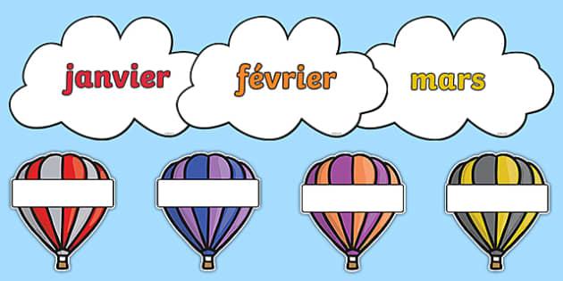 Editable Hot Air Balloon Birthday Display Balloons French - french, birthday, birthday display, editable birthday display, classroom display, classroom management, hot air balloon