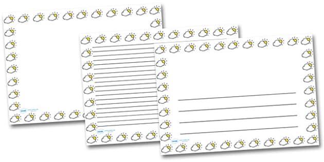 Cloudy Sun Landscape Page Borders- Landscape Page Borders - Page border, border, writing template, writing aid, writing frame, a4 border, template, templates, landscape