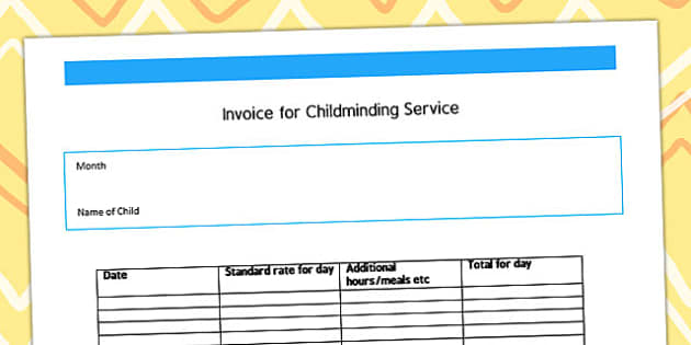 invoice for childminding service template - child minder, Invoice examples