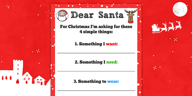 Letter to Santa 'Four Simple Things' Writing Template - letter, santa, four, simple
