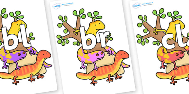 Initial Letter Blends on Reptiles to Support Teaching on The Great Pet Sale - Initial Letters, initial letter, letter blend, letter blends, consonant, consonants, digraph, trigraph, literacy, alphabet, letters, foundation stage literacy