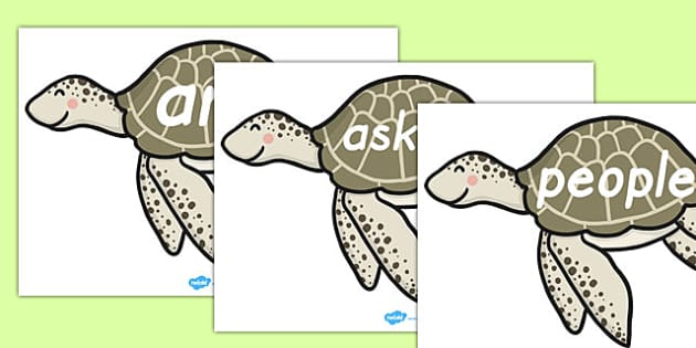 Tricky Words on Editable Turtles - tricky words, editable, turtles