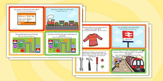 Challenge Cards Train Station Arabic Translation - arabic, challenge