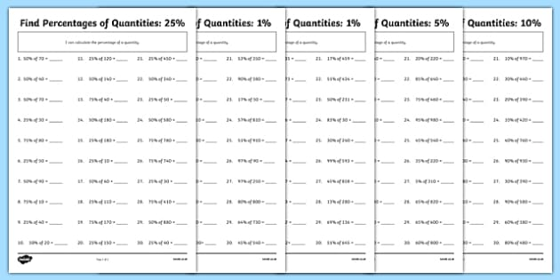 Find Percentages of Quantities Differentiated Activity Sheet – Fractions of Quantities Worksheet