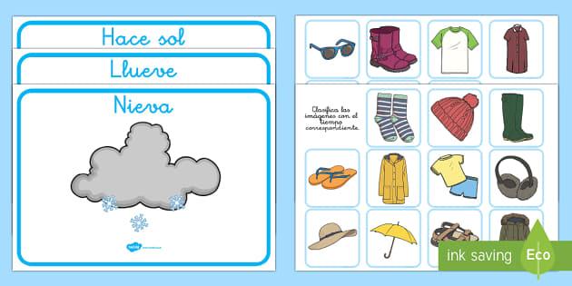 Actividad de clasificar: El tiempo y las estaciones del año - El tiempo y las estaciones del año, proyecto, clasificación, tipos de ropa, que llevar,Spanish