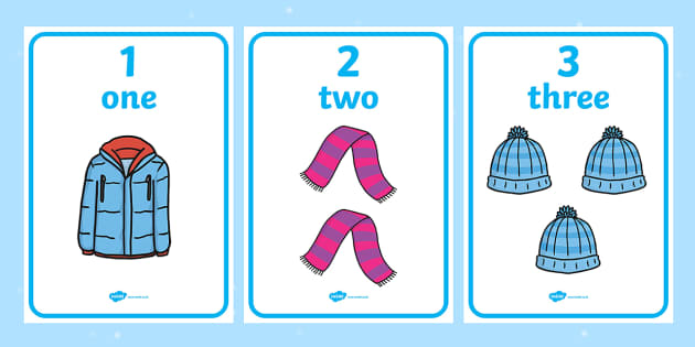 Winter Clothing Numbers and Words 1 10 Display Poster