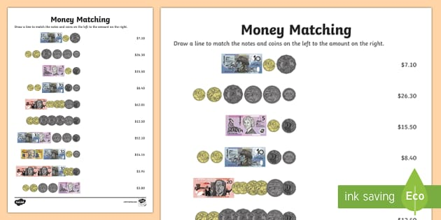Money Matching Activity Sheet - Australian currency, money, notes, coins, Australian curriculum, maths, worksheet, ACMNA034, austral