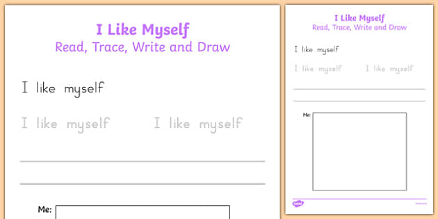I Like Myself Read, Trace, Write and Draw - usa, america, i like myself, all about me, read, trace, write, draw, activity