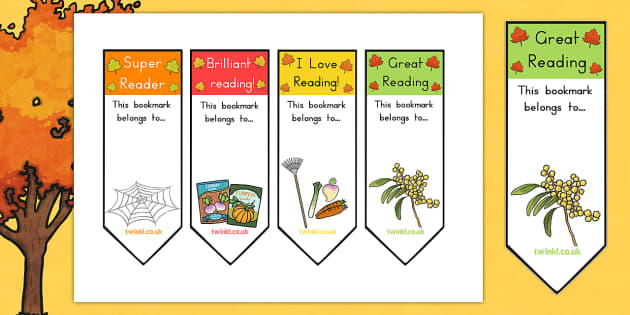 Autumn Bookmarks - book marks, reading, read, books, reward