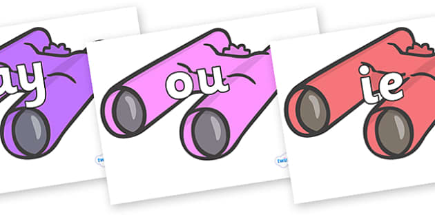 Phase 5 Phonemes on Binoculars - Phonemes, phoneme, Phase 5, Phase five, Foundation, Literacy, Letters and Sounds, DfES, display