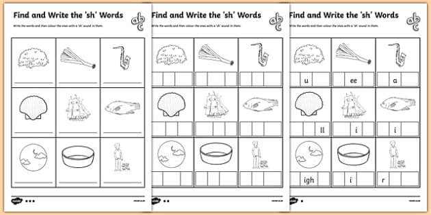 Find and Write the sh Words Differentiated Activity Sheet Pack, worksheet