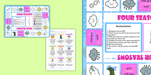 Weather and Seasons Board Game - weather and seasons, weather and seasons game, weather and seasons activity, weather and the seasons, weather, seasons