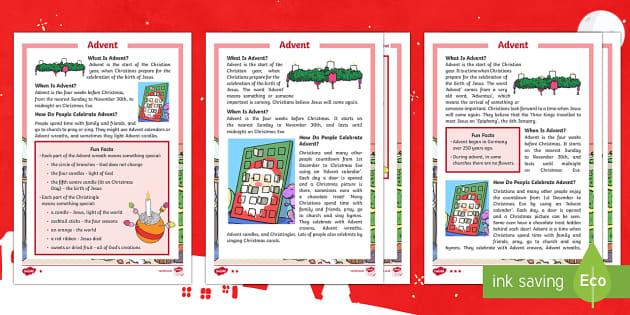 KS1 Advent Differentiated Fact File - Christmas, Nativity, Jesus, xmas, Xmas, Father Christmas, Santa, Advent, Advent calendar, Christians