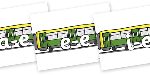 Modifying E Letters on Trains - Modifying E, letters, modify, Phase 5, Phase five, alternative spellings for phonemes, DfES letters and Sounds