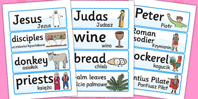 Easter Word Cards Polish Translation - season, seasons, literacy