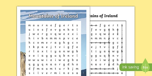 Mountains of Ireland Differentiated Word Search-Irish