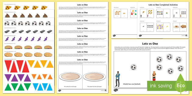 Workstation Pack: Lots vs One Activity Pack - Workstation Packs, TEACCH, ASD, autism, maths p4, maths p5, p scales,