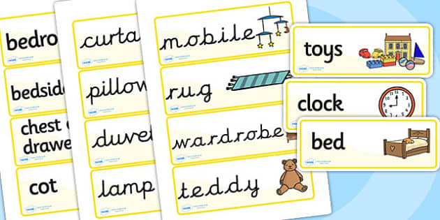 Bedroom Word Cards, bedroom, Word cards, flashcards, special needs
