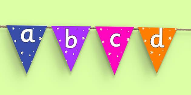 Star Themed Alphabet Bunting - alphabet, bunting, display, a-z, buntin