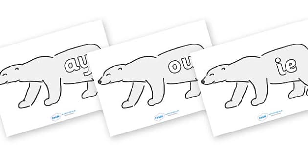 Phase 5 Phonemes on Polar Bears - Phonemes, phoneme, Phase 5, Phase five, Foundation, Literacy, Letters and Sounds, DfES, display