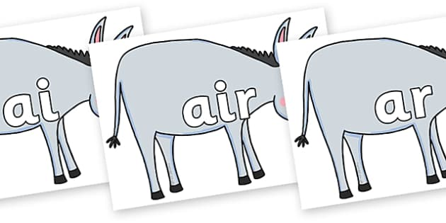 Phase 3 Phonemes on Hullabaloo Donkey to Support Teaching on Farmyard Hullabaloo - Phonemes, phoneme, Phase 3, Phase three, Foundation, Literacy, Letters and Sounds, DfES, display