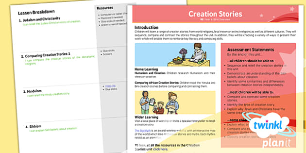 PlanIt - RE Year 6 - Creation Stories Unit Overview