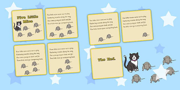 Five Little Mice Counting Song Sequencing Cards - Mice, Song, Count
