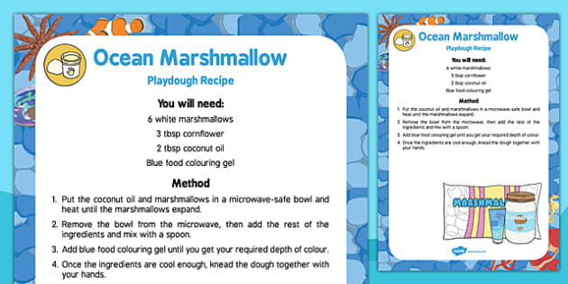 Ocean Marshmallow Playdough Recipe