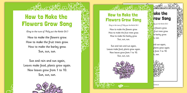 How to Make the Flowers Grow Song - plant, seed, fruit, life cycle, tune, flower, growing, eyfs, early years, EAD