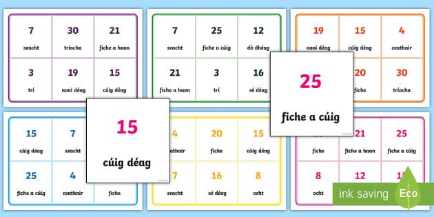 0-30 Bingo Gaeilge - Gaeilge, Bingo, Games, Irish,vocabulary, foclóir, numbers, uimhreacha, counting, ,Irish
