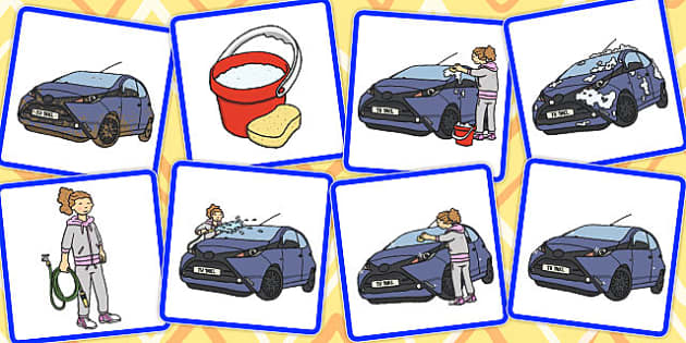 8 Step Sequencing Cards Washing the Car - sequencing, cards
